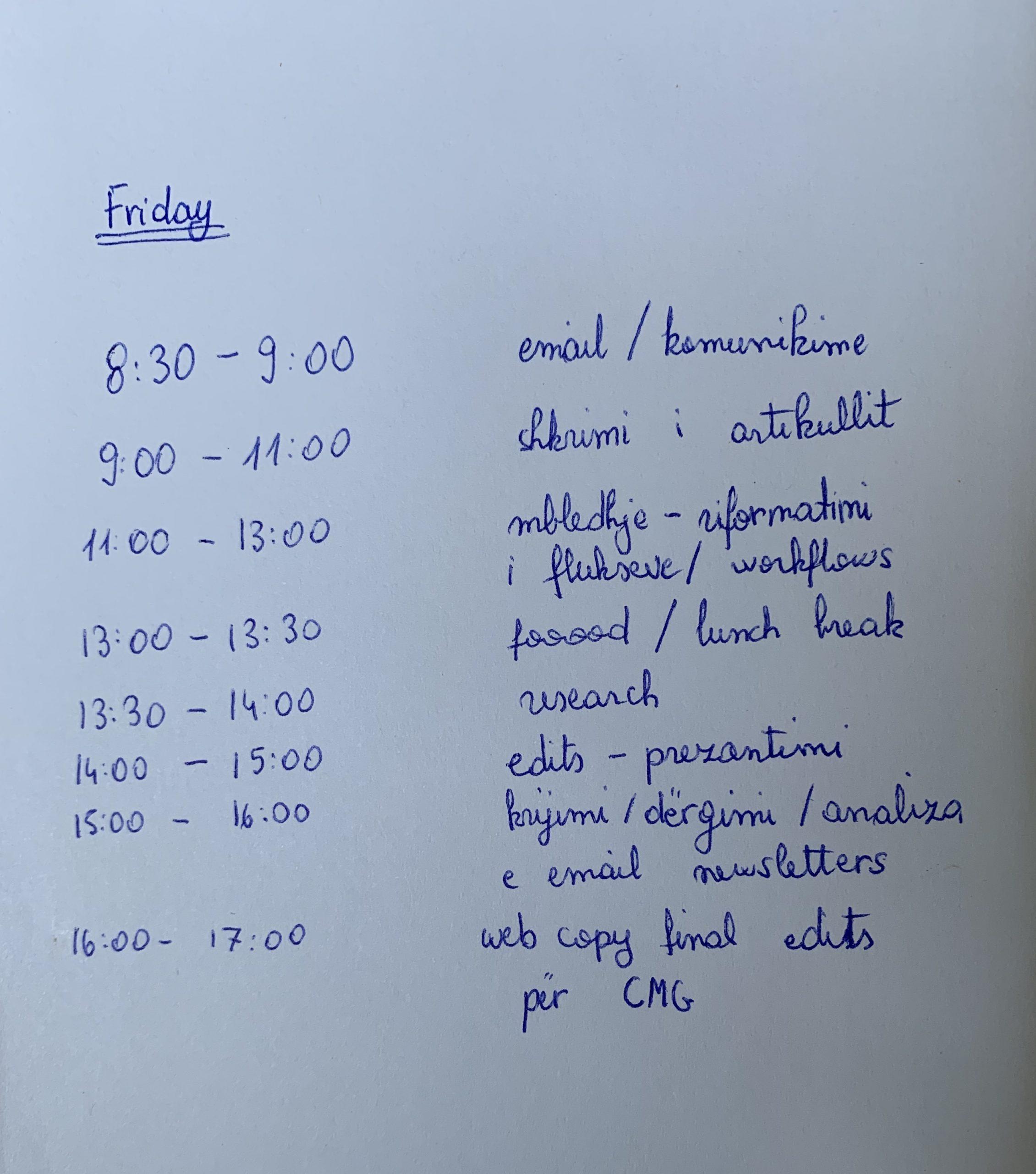 """shembull i """"time blocking"""" produktiviteti time management prenotoj.al"""